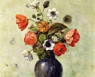 Anemones and Poppies in a Vase — Одилон Редон