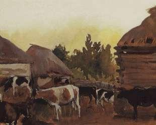 Скотный двор в селе Нескучное — Зинаида Серебрякова