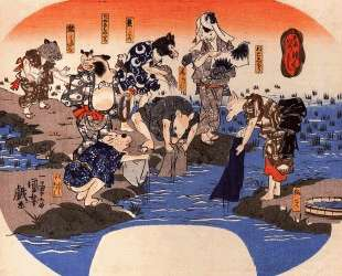 Animals dyeing fabrics — Утагава Куниёси