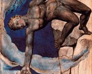 Антей, опускающий Данте и Вергилия в последний круг Ада — Уильям Блейк