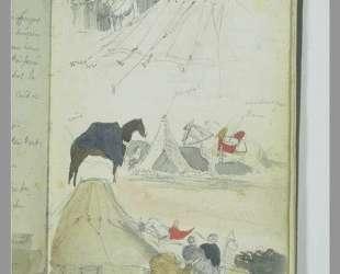 Арабский лагерь (зарисовка) — Эжен Делакруа