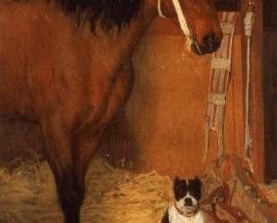 В конюшне. Лошадь и собака — Эдгар Дега