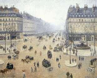Avenue de l'Opera, Place du Theatre Francais. Misty — Камиль Писсарро