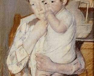 Ребенок на руках у матери сосет палец — Мэри Кассат