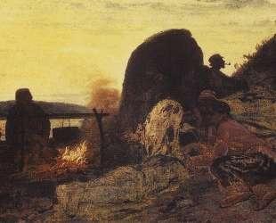 Бурлаки у костра — Илья Репин