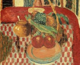 Basket and Plate of Fruit on a Red Checkered Tablecloth — Пьер Боннар