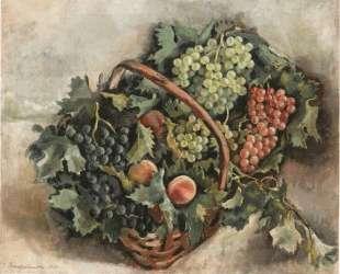 Корзина с виноградом и персиками — Зинаида Серебрякова