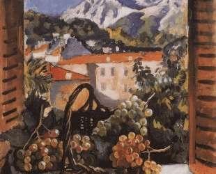 Корзина с виноградом на окне — Зинаида Серебрякова