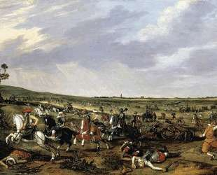 Battle scene in an open landscape — Эсайас ван де Вельде