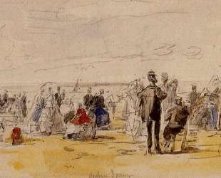 Beach Scene at Trouville — Эжен Буден