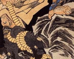 Benkei dragging the Miidera bell up a mountain — Утагава Куниёси