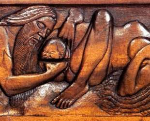 Birth, wooden bed panel — Жорж Лякомб