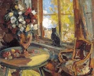 Черный кот на подоконнике — Константин Коровин