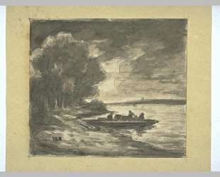 Boat near a shore lined with trees — Теодор Руссо