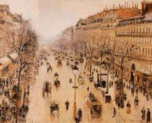 Boulevard Montmartre Morning, Grey Weather — Камиль Писсарро