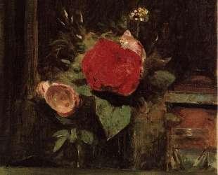 Букет цветов в стакане за табакеркой — Камиль Коро
