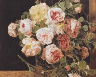 Bouquet of roses at the window — Фердинанд Георг Вальдмюллер