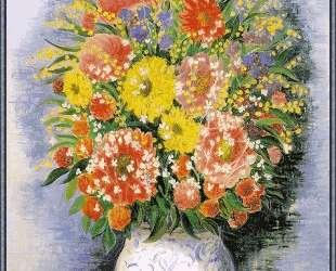 Букет из различных цветов и мимозы — Моис Кислинг