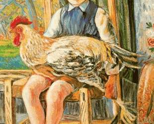 Boy sitting with a hen on his lap — Рафаэль Забалета