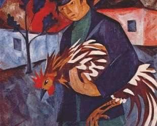 Boy with rooster — Наталья Гончарова