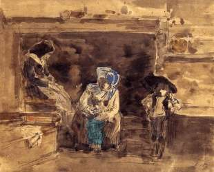 Breton Family by the Fireplace — Эжен Буден