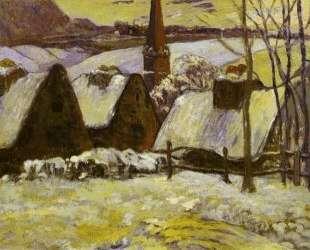 Бретонская деревня под снегом — Поль Гоген