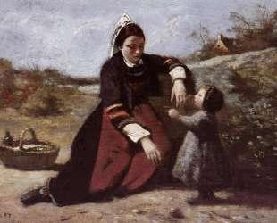 Бретонская женщина с маленькой девочкой — Камиль Коро