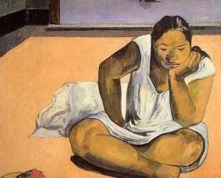 Задумчивая женщина — Поль Гоген