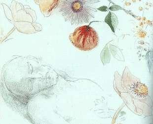 Bust of a Man Asleep amid Flowers — Одилон Редон