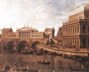 Capriccio: a Palladian Design for the Rialto Bridge, with Buildings at Vicenza — Каналетто