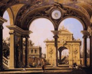 Capriccio of a Renaissance Triumphal Arch seen from the Portico of a Palace — Каналетто