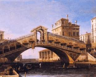 Capriccio of the Rialto Bridge with the Lagoon Beyond — Каналетто