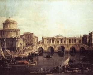Capriccio: The Grand Canal, with an Imaginary Rialto Bridge and Other Buildings — Каналетто