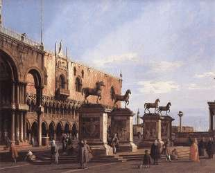 Capriccio: The Horses of San Marco in the Piazzetta — Каналетто