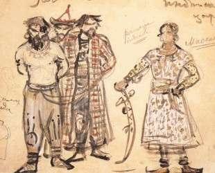 Captured Pechenegs (Costume design for the opera 'Rogneda') — Михаил Врубель