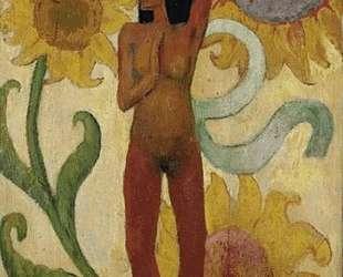 Карибская женщина, или Обнаженная с подсолнухами — Поль Гоген