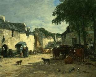Cattle market at Daoulas, Brittany — Эжен Буден