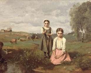 Дети у ручья, Лорм — Камиль Коро