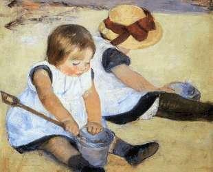 Дети играют на пляже — Мэри Кассат