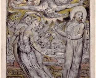 Христос, отвергающий пиршество Сатаны — Уильям Блейк