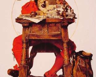 Christmas Santa Reading Mail — Норман Роквелл