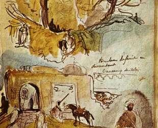 Городская стена Мекнеса (Марокканский альбом) — Эжен Делакруа