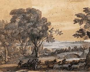 Coast scene with a battle on a bridge — Клод Лоррен