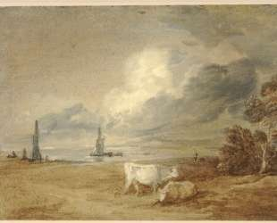 Coastal scene with shipping, figures and cows — Томас Гейнсборо