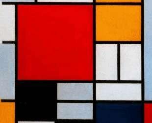 Композиция с большой красной плоскостью, желтым, черным, серым и синим — Пит Мондриан