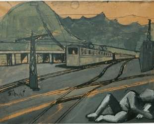 Composition with train and figure — Марио Сирони