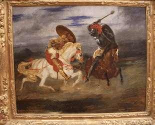 Стычка рыцарей в деревне — Эжен Делакруа