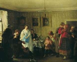 Поздравление молодых в доме помещика — Григорий Мясоедов