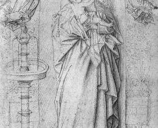 Мадонна у фонтана (рисунок) — Ян ван Эйк