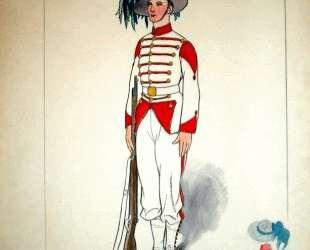 Costume design for an officer with a gun — Юрий Анненков